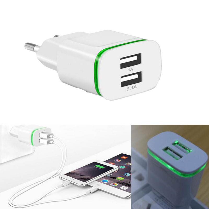 LED Light EU Plug Dual Ports 5V 2A Wall USB Charger Travel Fast Charging Power Adapter for iphone 8 7 Samsung S8 plus Xiaomi 6 5