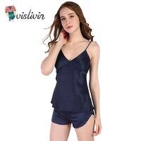 Vislivin Women Clothes For Summer Shorts Sets V Neck Sleepwear Satin Pajama Women S Pajamas Sexy