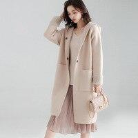 Пальто с капюшоном женское нейлоновое Смешанное кармашки из ткани, закрытое на пуговицах, однотонное, 3 цвета, повседневное пальто в английс