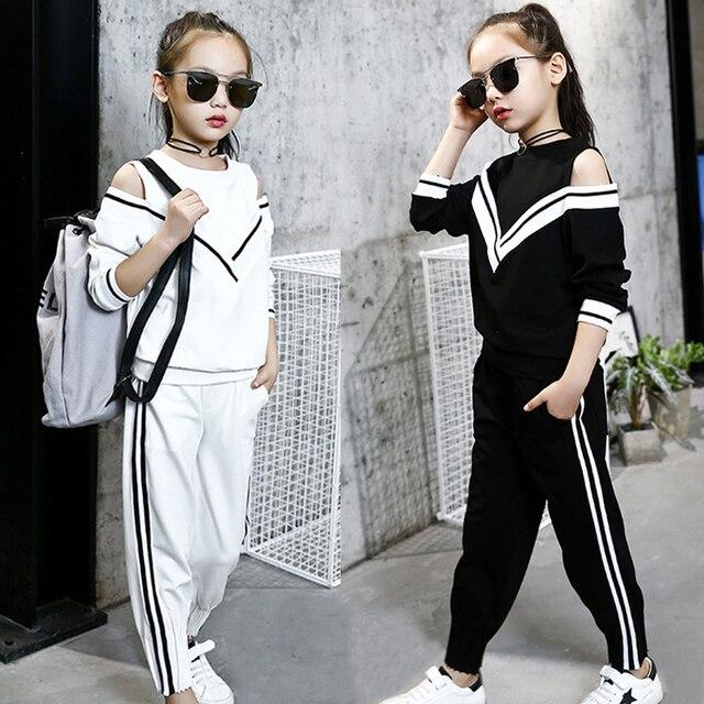 Белый спортивный костюм для девочек, осенний комплект одежды для девочек-подростков, топ с длинными рукавами и штаны, повседневная детская одежда для девочек 6, 7, 8, 9, 10, 11, 12 лет