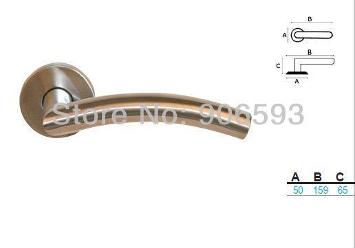 Купить с кэшбэком 6pairs free shipping Modern stainless steel classic camber door handle/handle/lever door handle/AISI 304