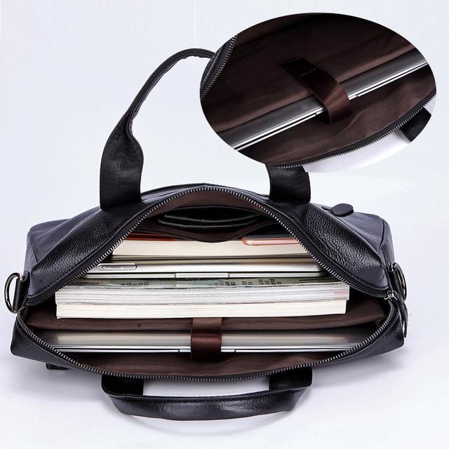 Lachiour Black Pu Leather Laptop Bag For 14 Inch Laptop 5