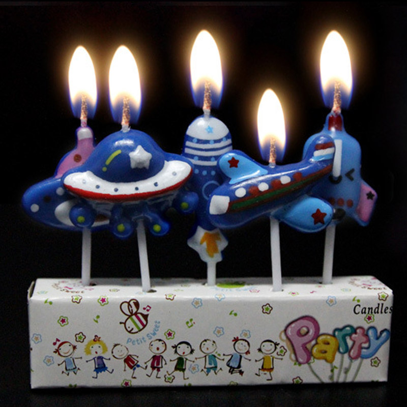 5 Pcs Set Cute Boys And Girls Design Kids Happy Birthday Cake