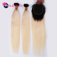 Silk Swan Ombre Blonde Bundles With Closure 1B/613 Black and Blonde Hair Bundles Dark Roots 10 28 Inch Remy Hair Weave