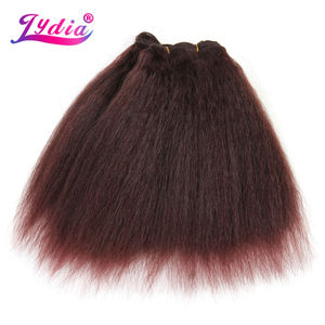 Image 5 - לידיה לנשים שחורות שיער סינטטי הארכת שיער אריגה ישר קינקי צבע טהור 10 Inch גל 3 יח\חבילה חבילות שיער