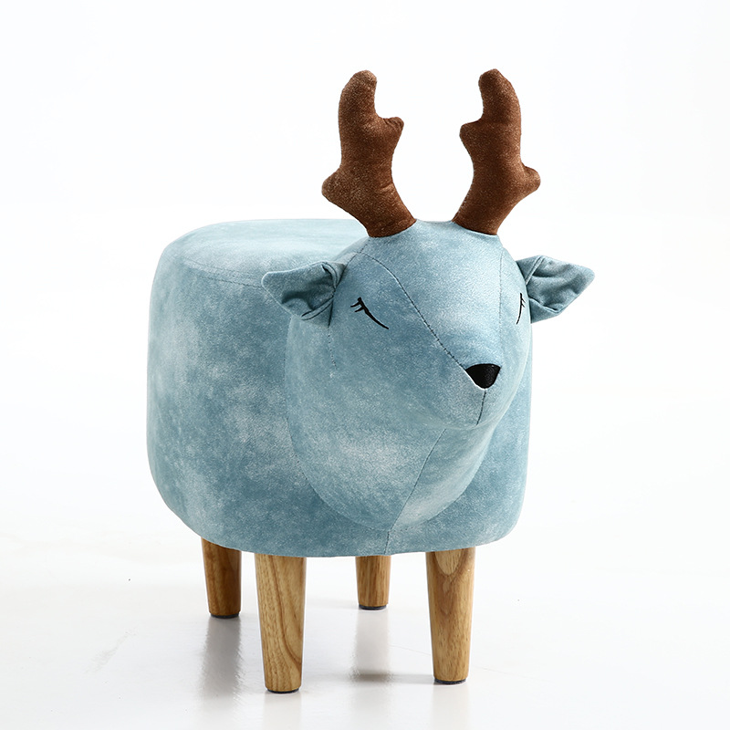 New Household Low Foot Stool Small Cartoon Animal Wood Bench Kids/Children Chair Living Room Small Tea Table Sofa Leather Fabric
