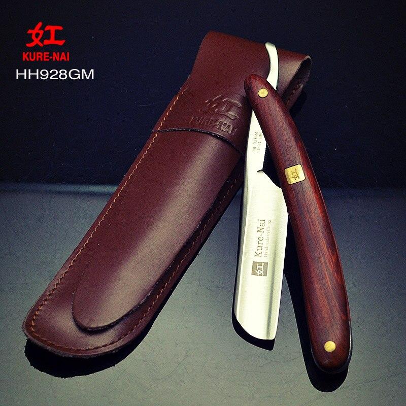 1 X KURE NAI HH928GM, SHAVE READY Man Straight Shaving Razor Wooden Handle Folding Single Blade shave razor