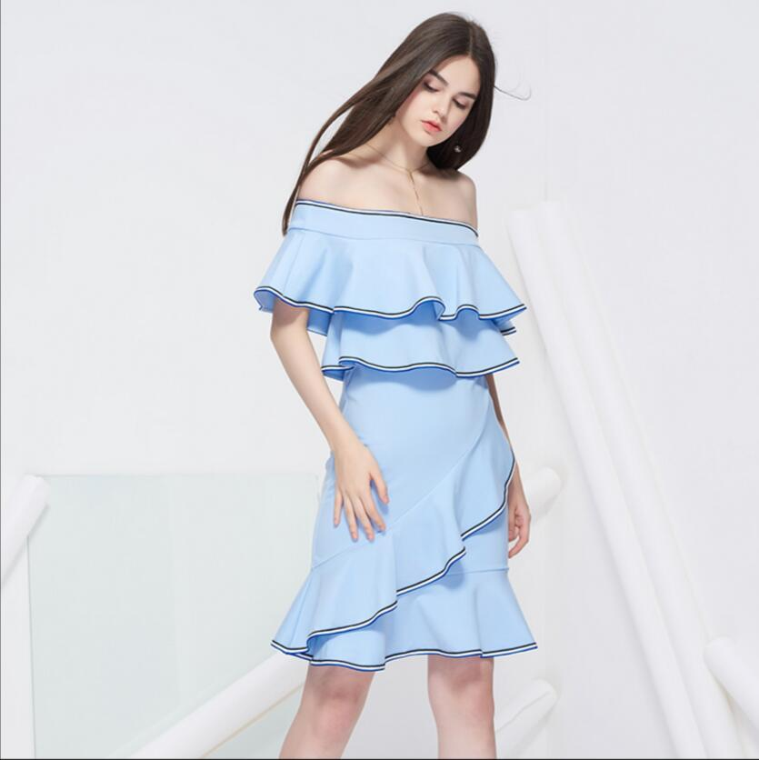 Girl Party Dress Short Slash Neck Elegant Sexy Off-shoulder Ruffles Sky Blue Club Fishtail Dress High Quality Free Shipping