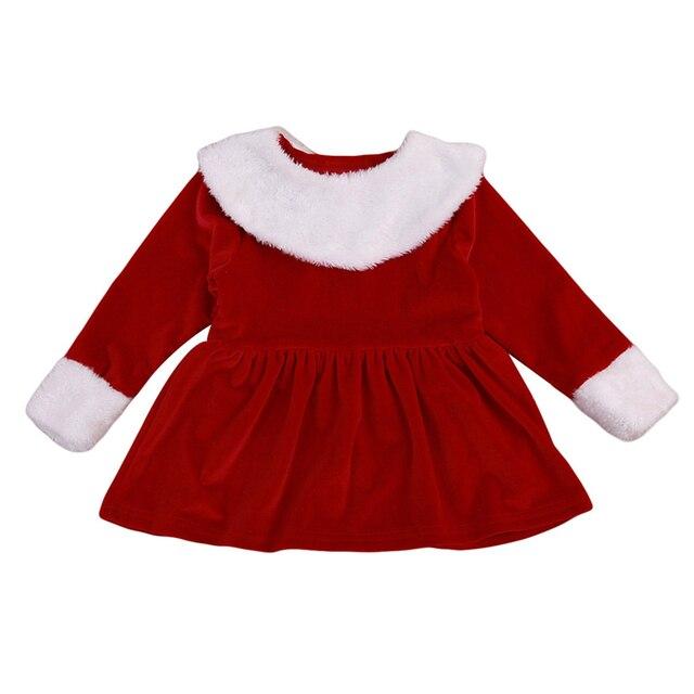 e889f724b7e2 Xmas Baby Girl Sukienki Aksamitne Boze Narodzenie Dziewczynka Z