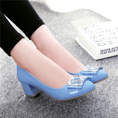 PXELENA Elegant Lolita Round Toe Chunky Kitten Heels Slip On Shoes ...