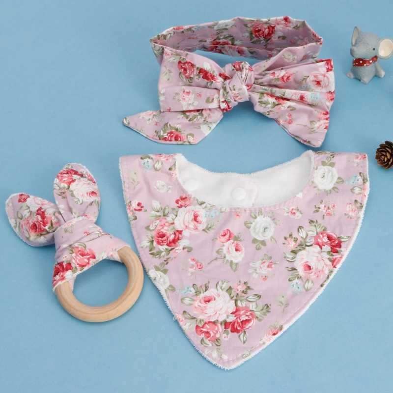 3Pcs Baby Rabbit Ears Teether Cotton Bibs Headband Infant Saliva Towel Care Set  Baby Bib  fresh design beautiful color