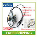 KEIHIN 30mm carburetor with accelerating pump accelerator TTR250 CG200 cg250 carburetor ttr irbis repair kits  throttle cable