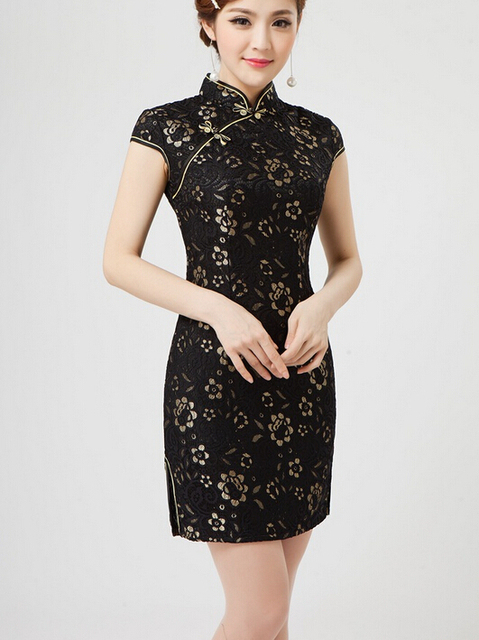 1pcs Lot Free Shipping Summer Women S Lace Short Cheongsam