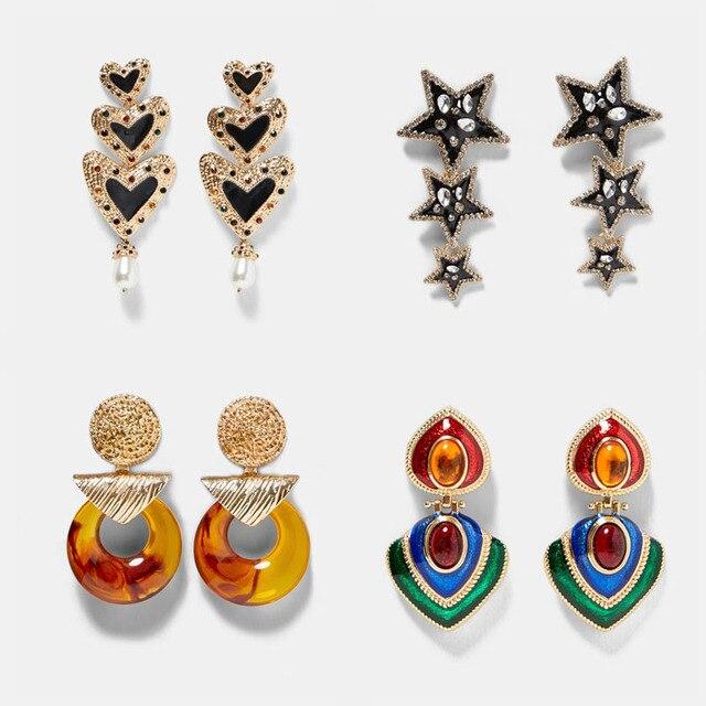 Best Lady Za Charm Multicolored Drop Dangle Earrings For Women Bohemian Wedding Party Jewelry Christmas