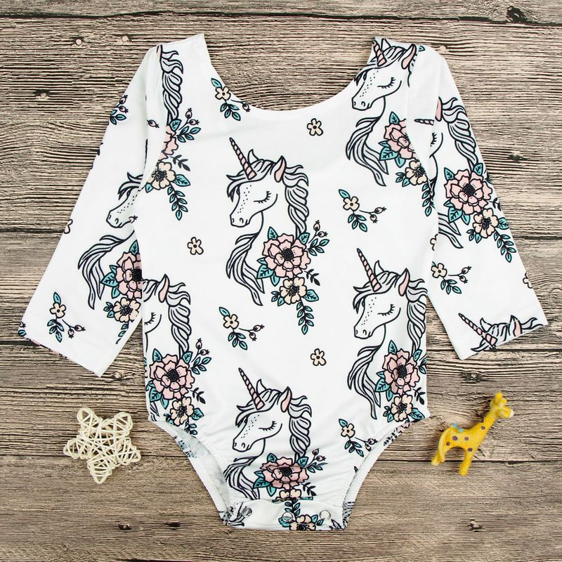 Brand Baby Girls Brand Bodysuit White Long Sleeve Newborn Girls Unicorn Print Floral Bodysuit Infant Onesie Baby Clothes sheer mesh bishop sleeve bodysuit