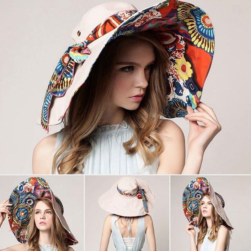 Fashion Women Flower Folding Brimmed Hat Sun UV Protection Outdoor Summer Beach Bowknot Hats Sun Hats LB