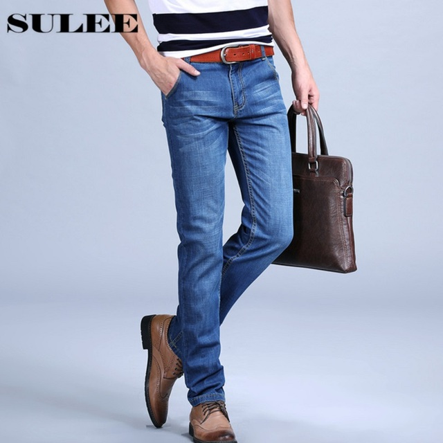 SULEE Brand 2017 New Fashion Business Men Jeans Cotton Denim Jeans Casual  Straight Washed Pants Stretch