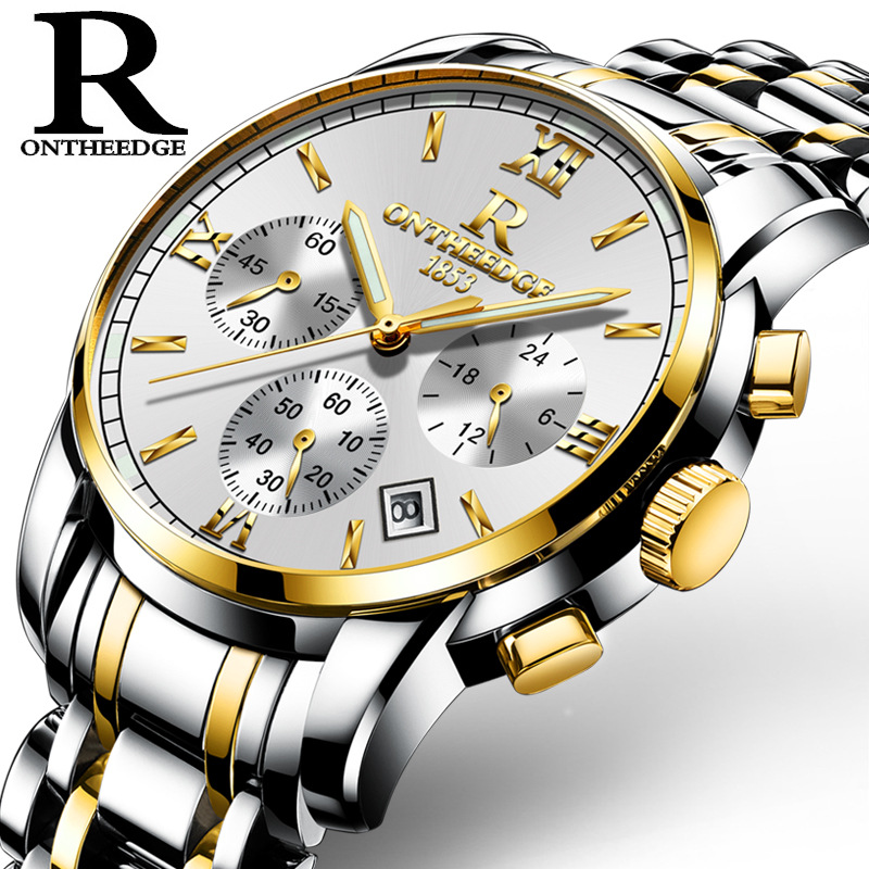 2018 New Fashion Quartz Watch hot Gold Casual Business Stainless Steel wristwatch affordable OnTheEdge Luxury Brand Men Clock цена и фото