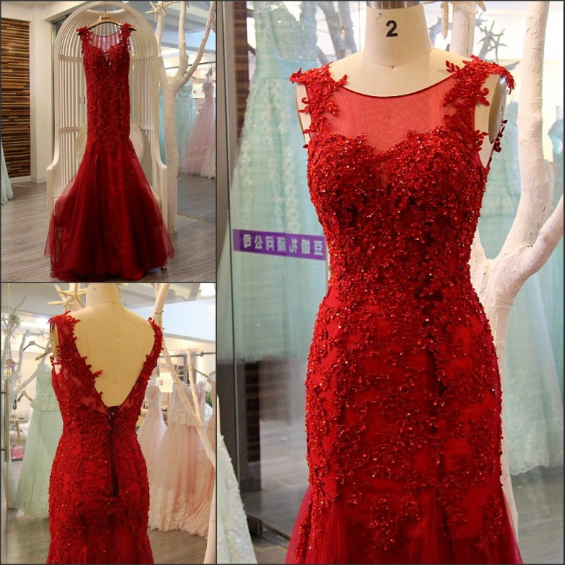 2016 New Design Scoop Sleeveless Backless Sexy Mermaid Lace Appliques Beads Sequins Long Red   Evening     Dress   Robe De Soiree IZ496