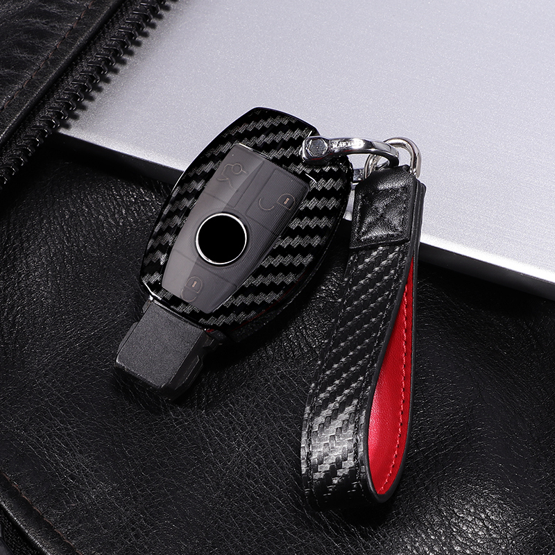 Carbon fiber +PC car key cover case for Mercedes benz CLS CLA GL R SLK AMG A B C S class Remote holder accessories keychain-in Key Case for Car from Automobiles & Motorcycles