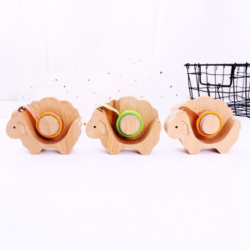1 Pcs Creative Sheep Shape Wooden Tape Dispenser Kawaii Tapes Dispensers Good Quality Stationery School Supplies mip390 dip 7