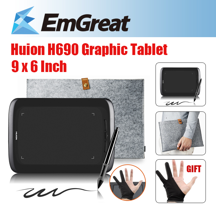 Classical Design Huion H690 Graphic Drawing Tablet w/ Pen Upgraded Version Of Huion H610+Anti-fouling Glove+ Wool Felt Liner Bag huion p608n usb 26 function keys graphic tablet black