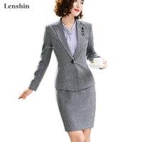 Lenshin 2 Pieces Set for Women Wear Gray Skirt Suits Single Button Career Office Lady Blazer & Skirt Coat Jacket