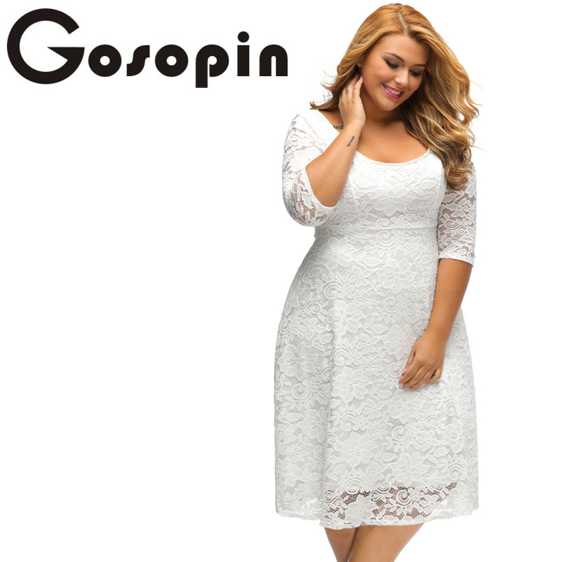 Gosopin New Elegant Large Size Lace Dresses 2017 White Floral Lace Sleeved Fit and Flare Curvy