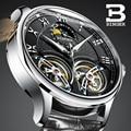 Швейцарские часы BINGER  оригинальные мужские автоматические часы с самовсасывающим эффектом  модные двойные турбийоны  мужские механические...