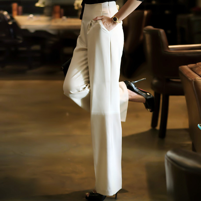 Black Alta Ropa Ocasional gray Delgada Primavera 2018 Coreana Verano Mujer white Nueva Ancho Blanco Pantalones Moda Cintura Pantalón Suelta pn1RxawqB