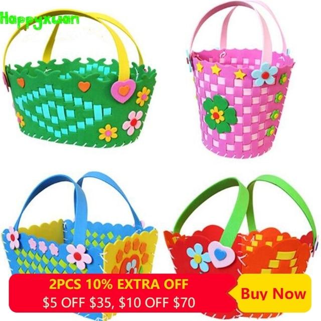 Happyxuan 4pcs/lot DIY Basket Weaving Craft for Kids Eva Handicraft Material Kits Kindergarten Creative Education Toys Girls