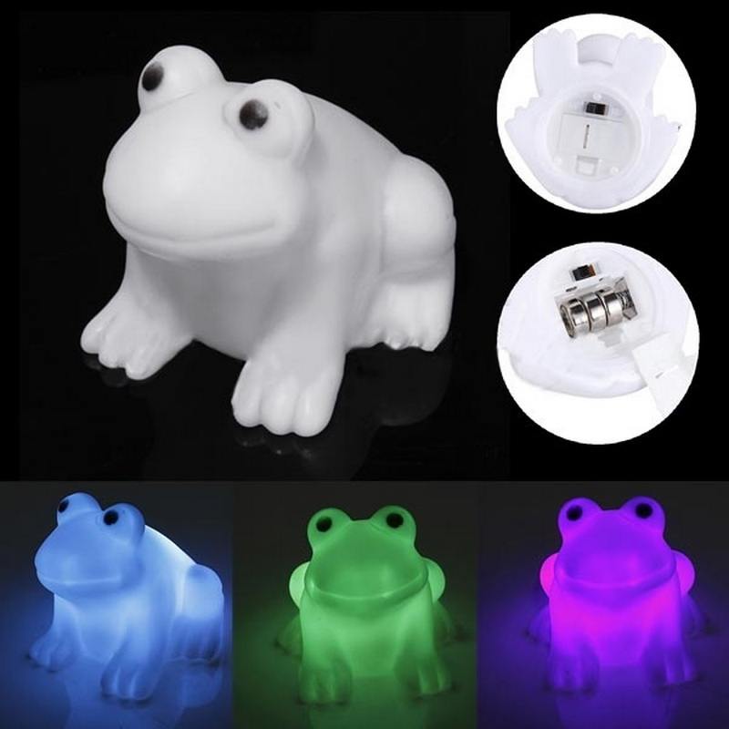 Energy Magic LED Cute Frog Night Light Novelty Lamp Changing Colors Colorful With Button Cell