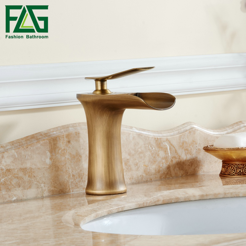 все цены на FLG Basin Faucet Waterfall Bathroom Faucets Single handle Basin Mixer Tap Antique Faucet Brass Sink Water Crane Taps 130-11A онлайн
