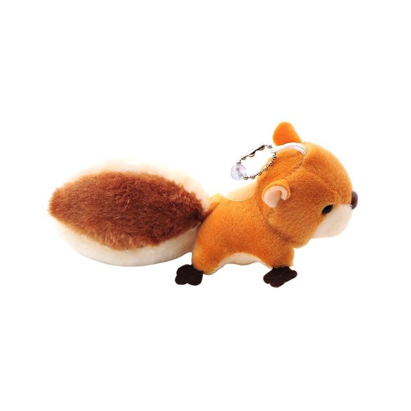 Mini Squirrel Plush Toy Stuffed Animal Keychain Doll Key Ring Bag Pendant With Sucker Plush Keychains Toys (brown)