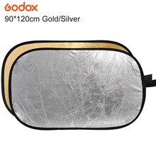 """Godox 2 en 1 90*120cm/35 """"x 47"""" photographie or argent lumière Mulit pliable Portable Photo réflecteur pour Studio Flash lampe"""