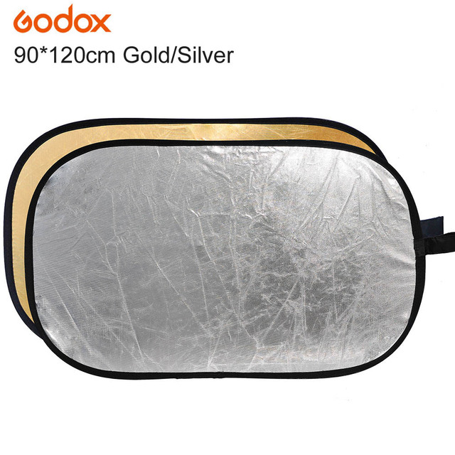 "Godox 2 in 1 90*120cm/35"" x 47"" Photography Gold Silver Light Mulit Collapsible Portable Photo Reflector for Studio Flash Lamp"