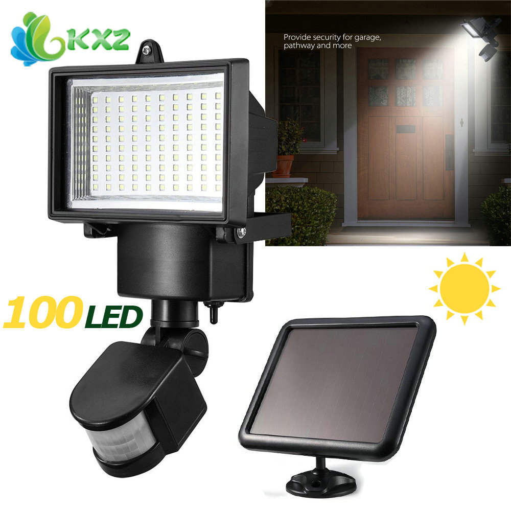 Solar Power Panel 100 SMD LED Flood Light Motion Sensor Outdoor Garden Yard Street Path Landscape Seucrity Lamp Floodlight 5 pieces lot solar powered panel led street light solar lighting outdoor path wall emergency lamp security flood light