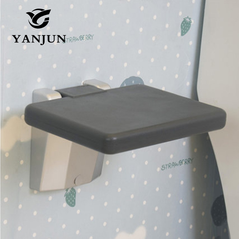 YANJUN Folding Wall Shower Seat  Wall Mounted Relaxation Shower Chair Solid Seat Spa Bench Saving Space Bathroom  YJ-2034 abs aluminum folding shower seat spacing saving wall mounted relaxation shower chair wall chair folding chair waiting chair