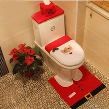 2016 Hot Christmas Decorations Best Gift Happy Christmas Santa High quality Toilet Seat Cover & Rug Bathroom Sets