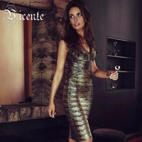 Free Shipping 2015 New Chic Luxe Vneck Oil Print Knee Length Party Celebrity HL Bandage Dress