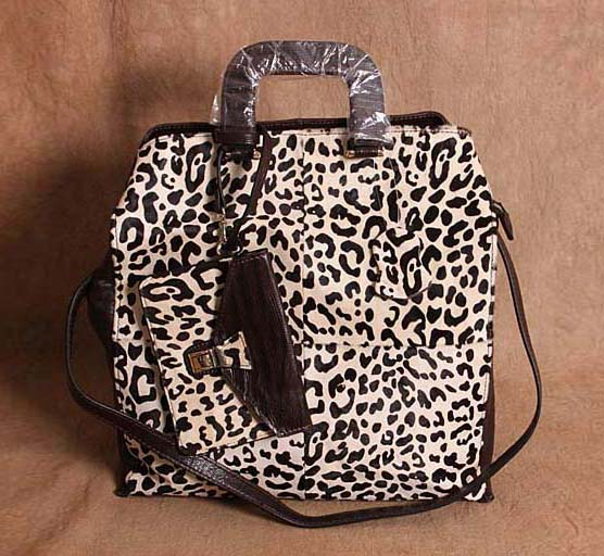 Фото free shipping Leopard print genuine leather female bags large first layer of cowhide horse fur innumeracy one shoulder handbag