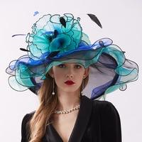 2019 Fashion Detachable Organza Female Hat Summer Hats for Women Beach UV Sun Visor Hat chapeau femme mariage Dual use Cap