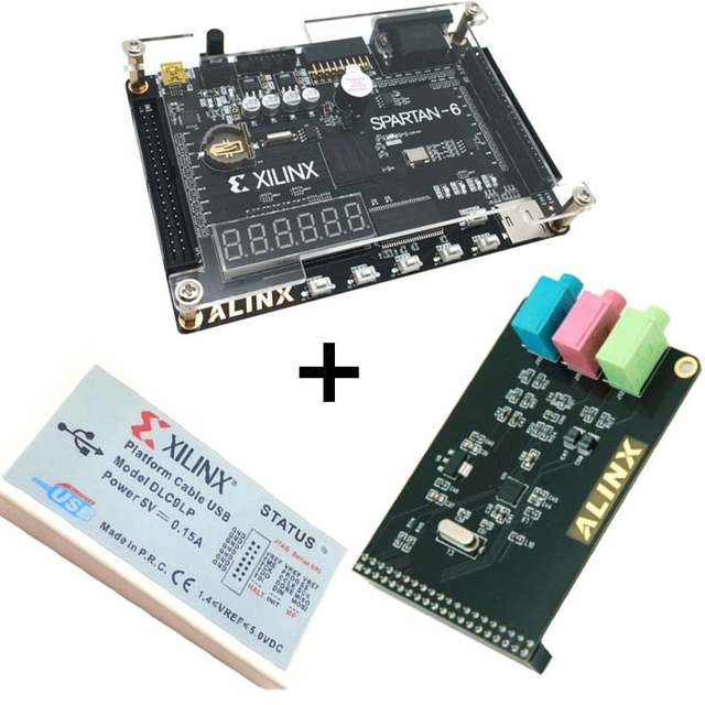 US $93 42 10% OFF Xilinx spartan 6 FPGA kit FPGA spartan 6 XC6SLX9  development board + Platform USB Download Cable+ WM8731 Audio Module  XL016-in