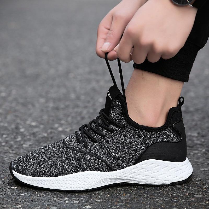 Marca de casuales de moda zapatos hombre tejido volar de malla de luz suave transpirable Slipon zapatos para hombre zapatos hombre zapatillas Zapatillas de deporte