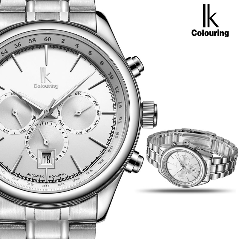 IK Automatic Mechanical Brand Man Watch Mens 24 Hours Calendar Luminous Silver Full Steel Watches Fashion