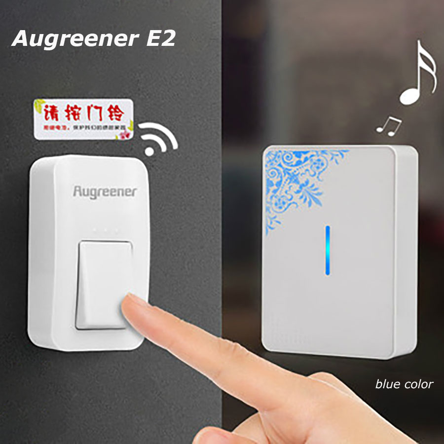 Augreener E2 Door Bell with 38 Chimes No Need Battery Push Button Wireless Ringer with Colored Pattern Smart Waterproof Doorbell