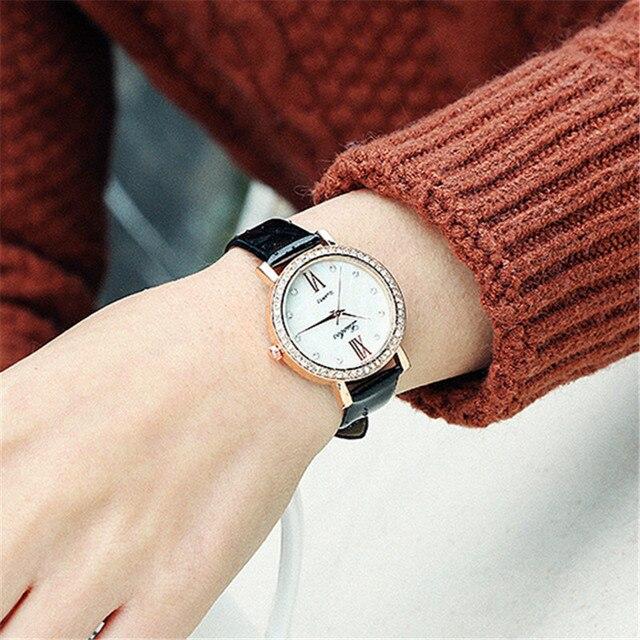 a89b9e8be12 Ladies  Diamond Wrist Watches Women Black Orange White Roman Numeral Fashion  Casual Quartz Watch Girls