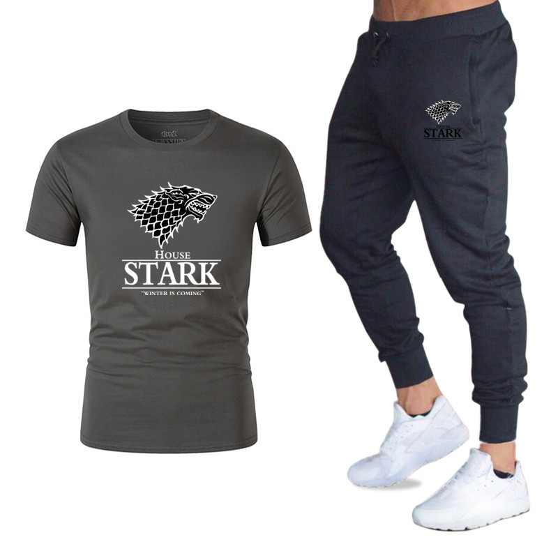 Game Of Thrones Printing TShirts+pants Men Set 2 Piece Kit Tracksuit Joggers Sportswear Set Brand Male Trousers Casual T-shirts