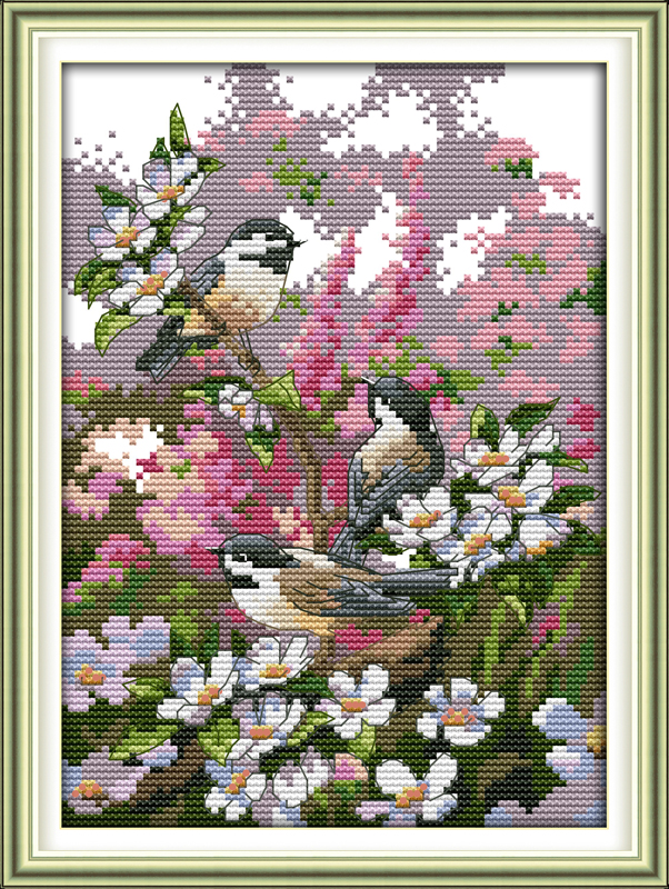 Three birds , counted printed on fabric DMC 14CT 11CT Cross Stitch kits,embroidery needlework Sets, Home Decor