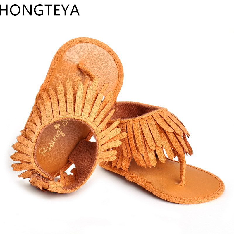 Hongteya  Hot Sell New Fashion Tassel Summer Baby Sandals Baby Moccasins Shoes Soft Sole Pu Leather Child Girls Boys Sandals